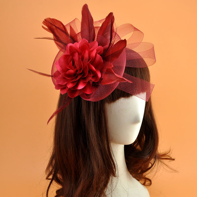 Retro-exaggerated mesh bride wedding headdress party dance performance feather big flower hairpin accessories