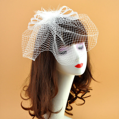 Wedding Hat White mesh feather hat hairpin retro bride wedding party performance headdress hairdress