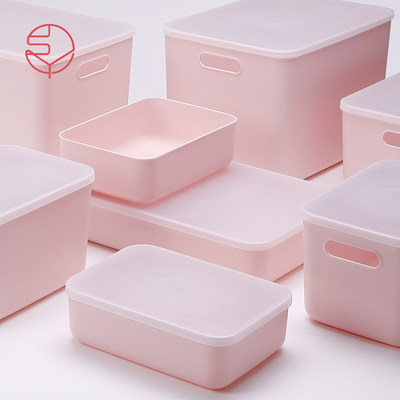Frost Mountain Coral Powder Belt Covered Box INS Girl Heart Storage Cosmetic Squiring Box Net Red Desktop Subscription Box