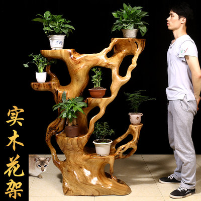 Root carving frame tree roots natural solid wood balcony multi-layer flower shelf indoor log living room overall root flower basin stand