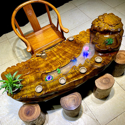 Root carving tea table golden Nanmu flowing tea several small tea sea solid wood tree root tea table integral table and chair combination wood