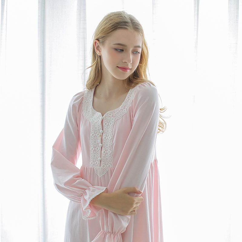 b0644f9155 Dust Hee pajamas spring and summer retro Palace cotton nightdress dress  long-sleeved lace sweet princess home service women