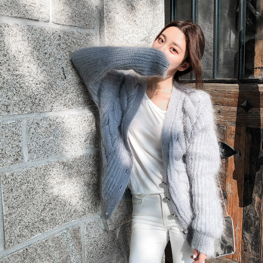 kaye 秋冬新款女装2018韩版马海毛宽松v领长袖网红毛衣开衫外套