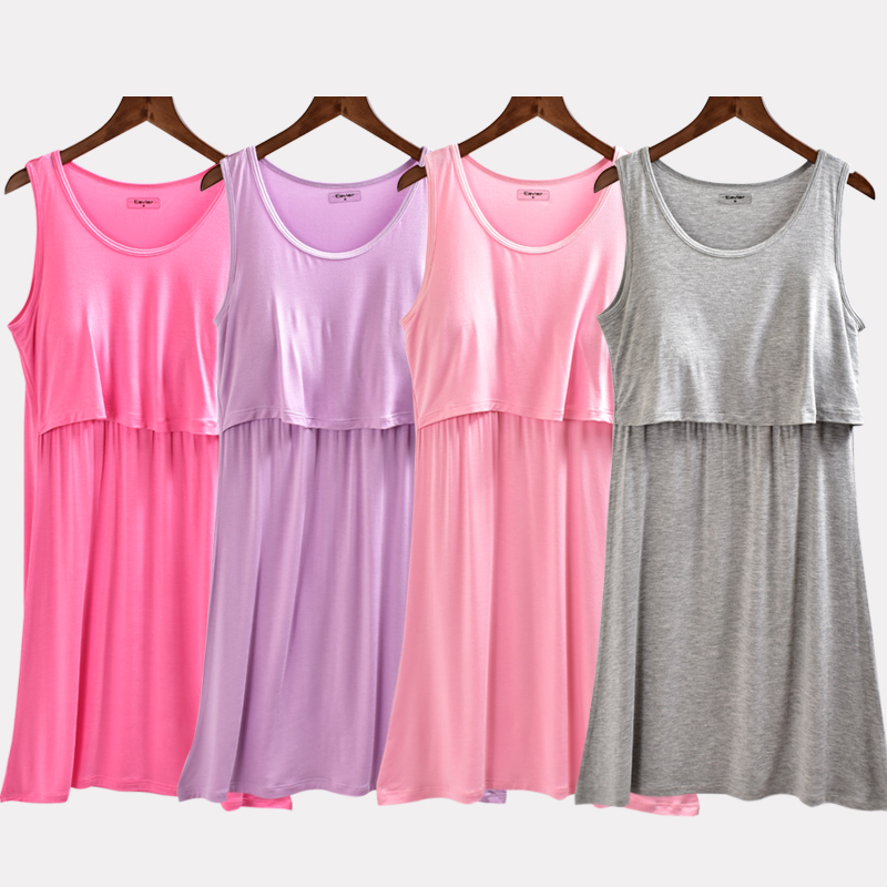 feee798961 Pajamas female summer nightdress dress pregnant women postpartum can wear  modal month clothes nursing vest nursing skirt