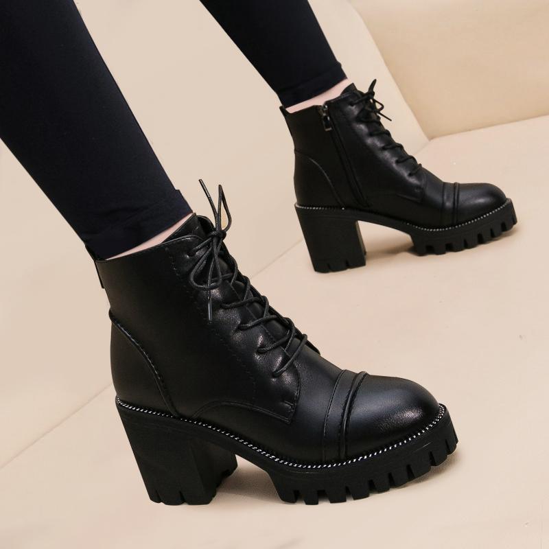 天天特价秋冬新款短靴女防水台高跟鞋马丁靴粗跟厚底中跟女靴靴子