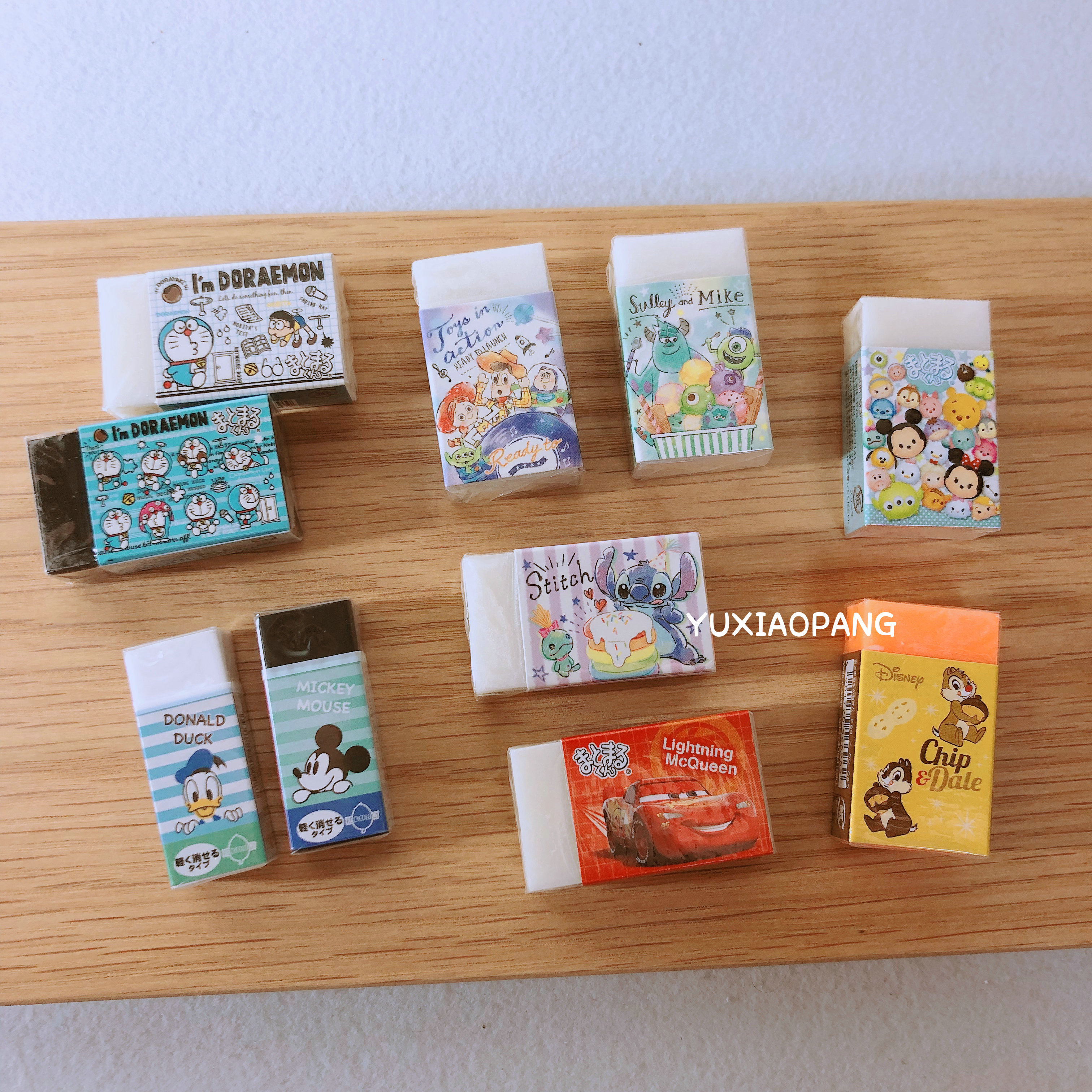 一堆小可爱橡皮擦 日本制 迪士尼系列机器猫白橡皮擦