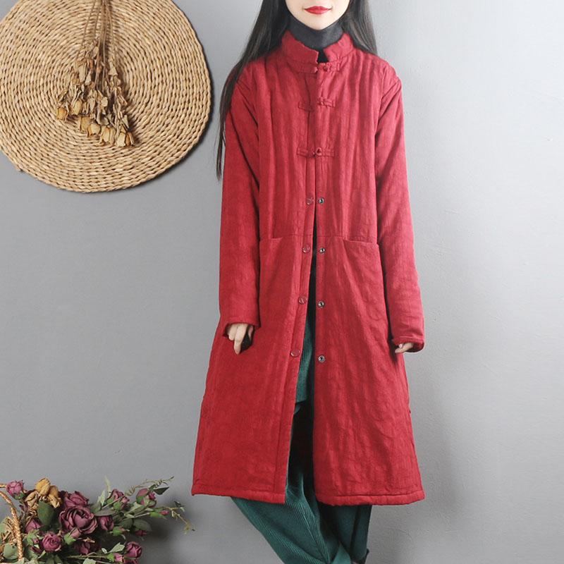 中国风复古文艺棉麻棉衣女冬装中长款民族风中式盘扣棉服棉袄外套