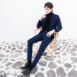CSO spring and summer men's navy blue small suit suit trendy casual Korean style handsome slim formal suit groom