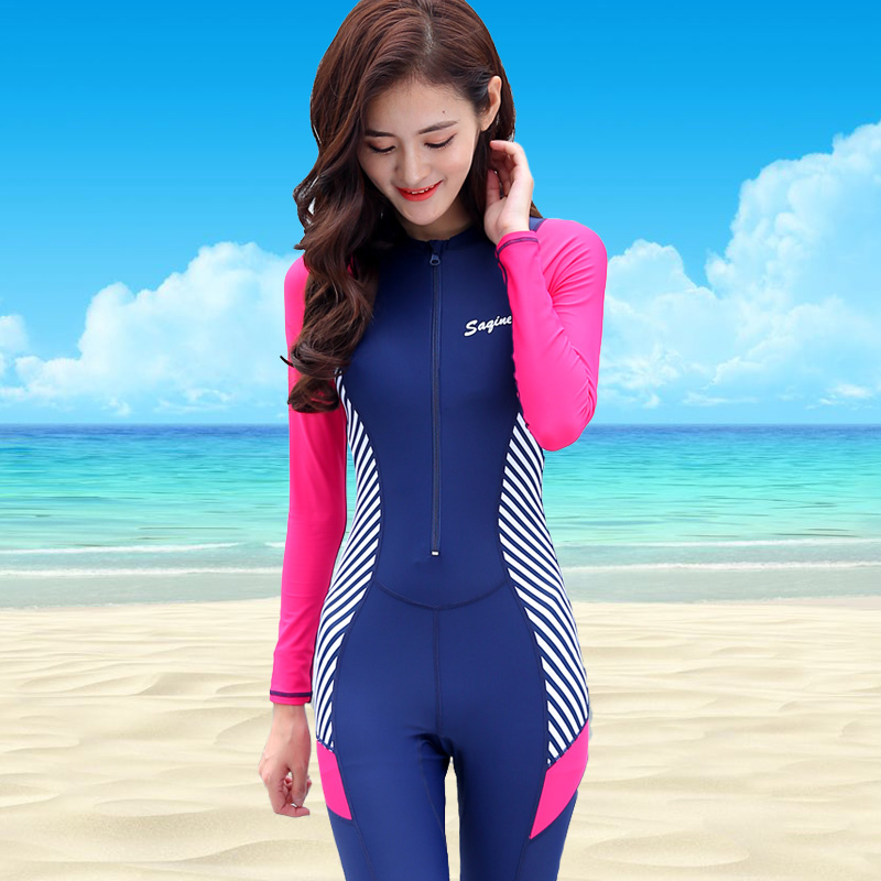 8caef4e9f33 2018 new women s diving suit full body sunscreen swimsuit ladies long  sleeve snorkeling surfing waterproof mother
