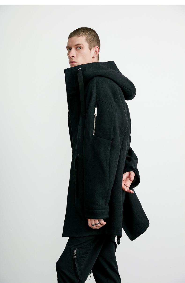 Lilbetter nam áo khoác thời trang Anh retro áo gió trùm đầu Slim áo choàng áo khoác mùa đông áo len nam