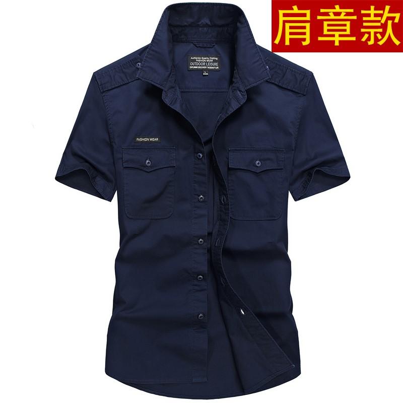 夏季短袖衬衫男士工装宽松大码纯棉户外休闲肩章衬衣半袖军装夏天
