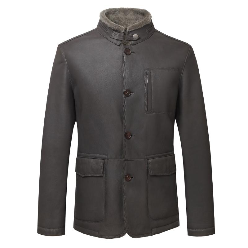 男士秋冬经典真皮羊羔毛绵羊皮修身灰色皮衣