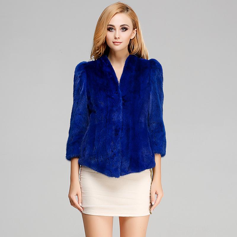 整貂新款 女式短款貂皮大衣 女士水貂毛外套 修身简约款