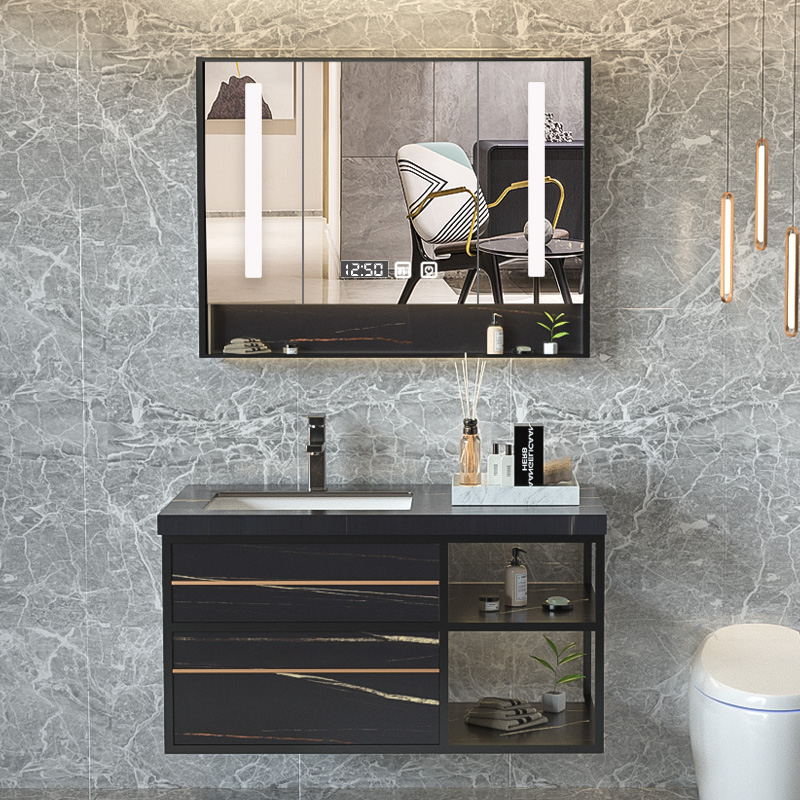 Rock slab light luxury bathroom cabinet combination modern minimalist smart mirror bathroom washbasin washbasin washbasin custom