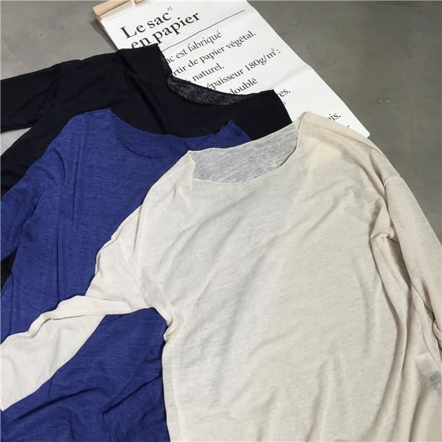 韩版透视宽松圆领套头中长款长袖薄款针织打底衫空调罩衫夏女包邮