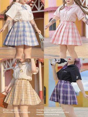 taobao agent Hard candy large size original Sanrio joint genuine jk uniform lattice skirt fat MM college style pleated skirt