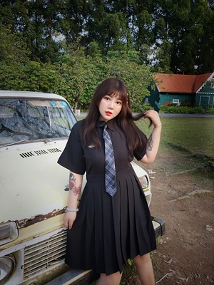 taobao agent Hard candy plus size fat mm2020 new temperament age-reducing dress Korean version loose belly slimming shirt polo skirt