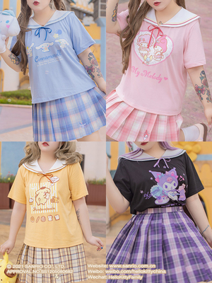 taobao agent Hard candy large size Sanrio sweet girl navy collar T-shirt round neck loose and thin Japanese basic short-sleeved top