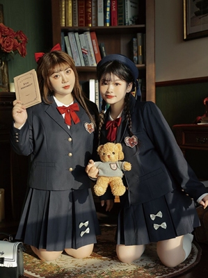 taobao agent Hard candy large size original retro jk uniform American suit big full set fat mm thin college style suit early autumn