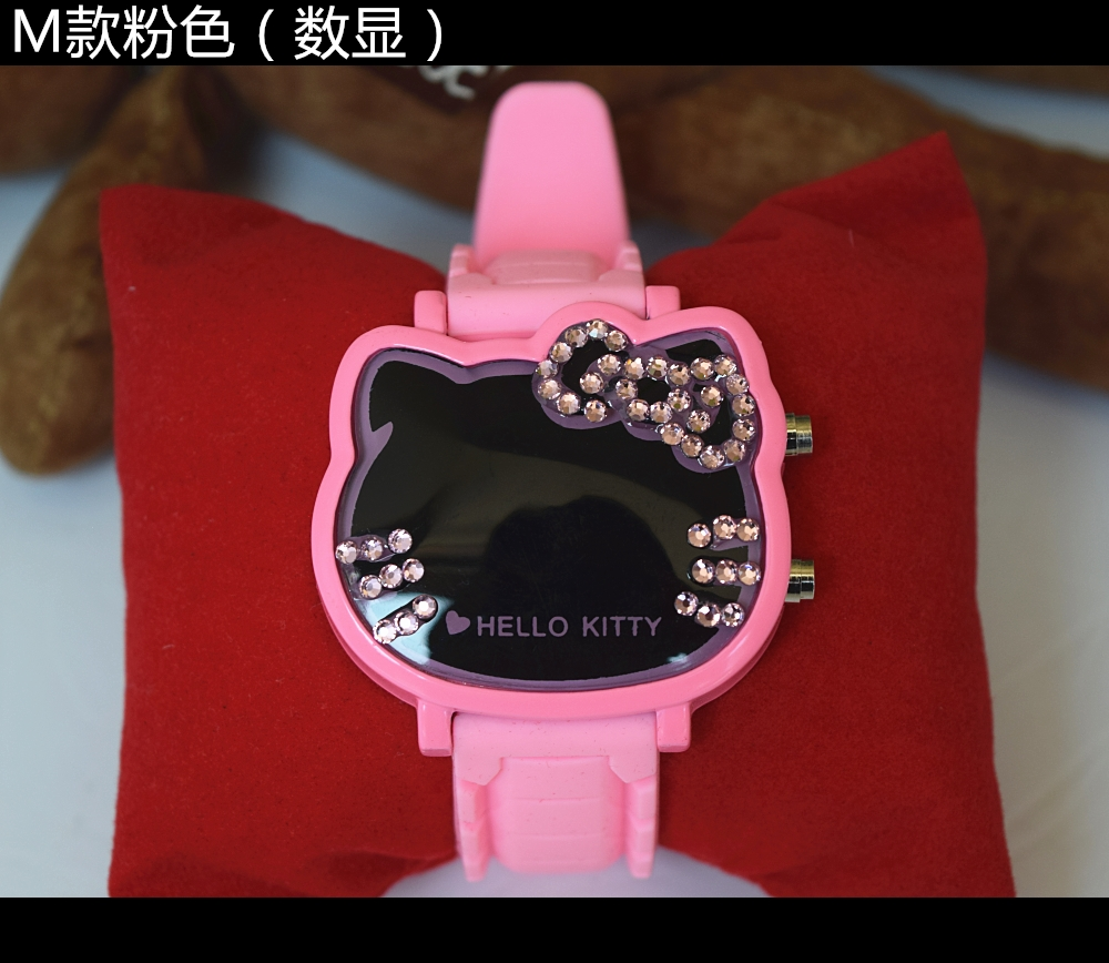 Animation Hello Kitty Magnifier Clock Wrist Hello Kitty Pink Gemstone With Diamonds Watches Children Electronic Watch Cosplay Soft And Light Costume Props