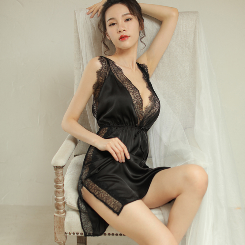 Plus size sexy pajamas female summer hot adult thin section lace halter seduction sexy nightdress Midnight Charm