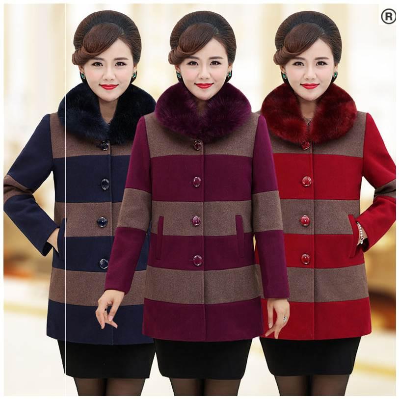 Phụ nữ trung niên và người già mặc áo len mùa đông trong chiếc váy dài rộng cỡ lớn thời trang của mẹ 4050 tuổi - Áo khoác dài