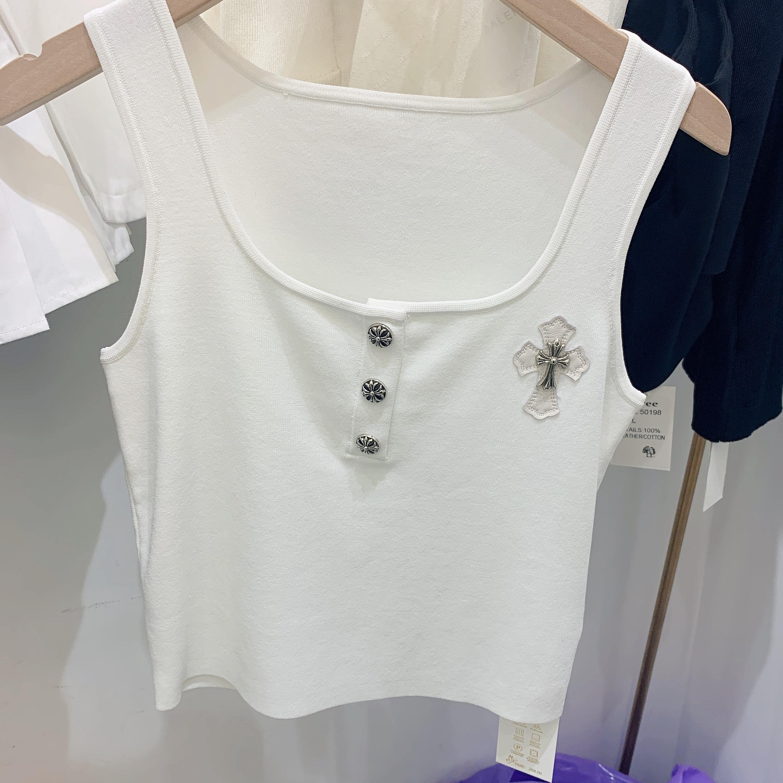 新款潮牌定制立体图案针织冰丝背心时尚百搭气质(跑量不退换)