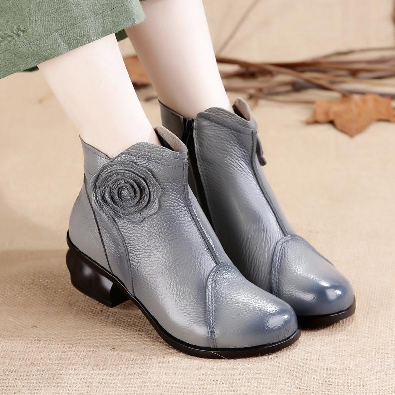 冬季粗跟高跟短靴女鞋系带圆头加绒短筒马丁靴裸靴子红色婚鞋中跟