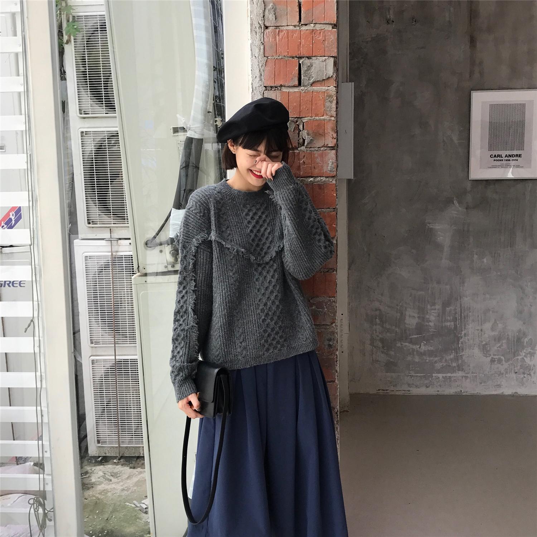 Motzu上衣秋冬复古套头宽松长袖女毛衣新款v上衣感针织灰色流苏