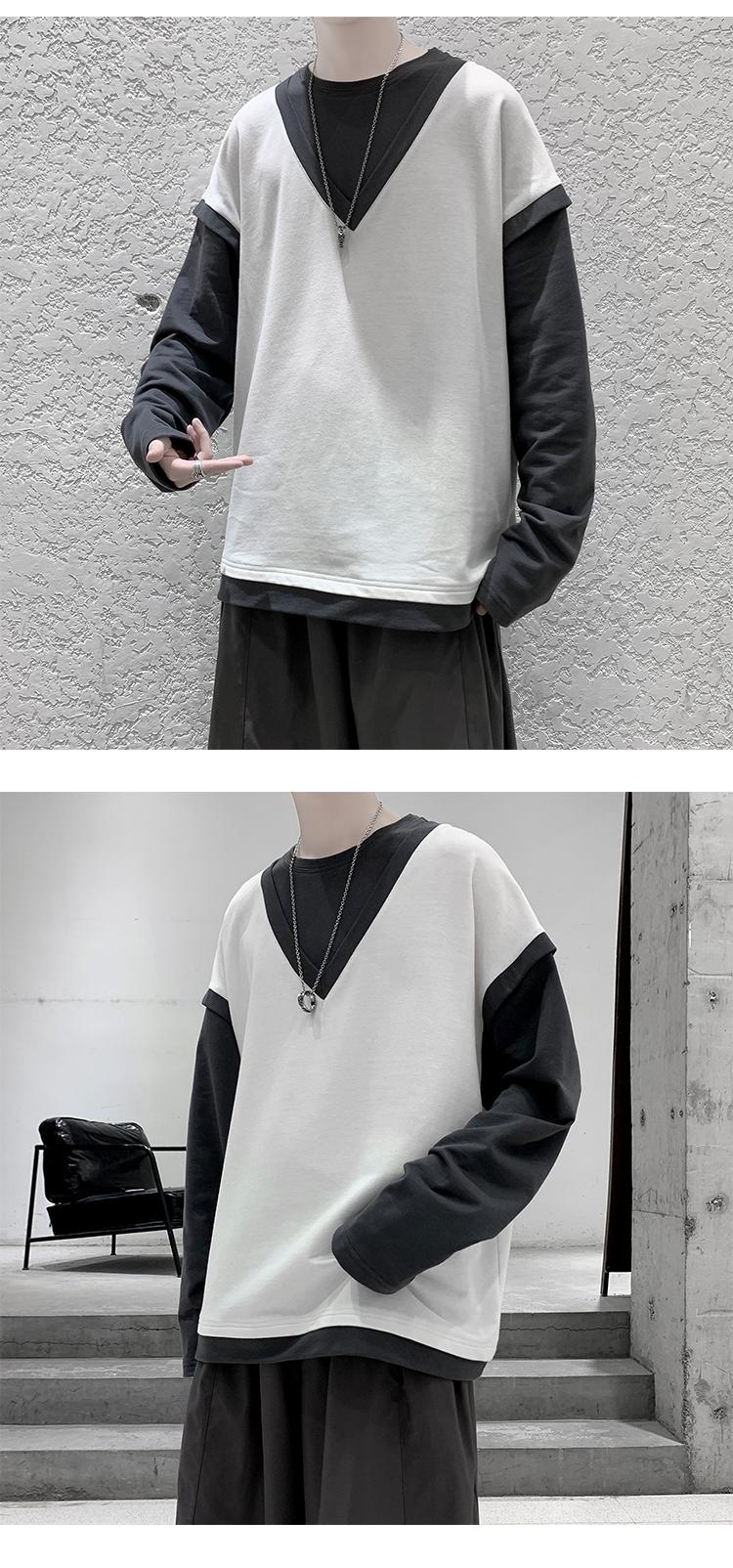 秋季新款纯色假两件长袖T恤宽松撞色卫衣潮A150-CX2007-P45控价59