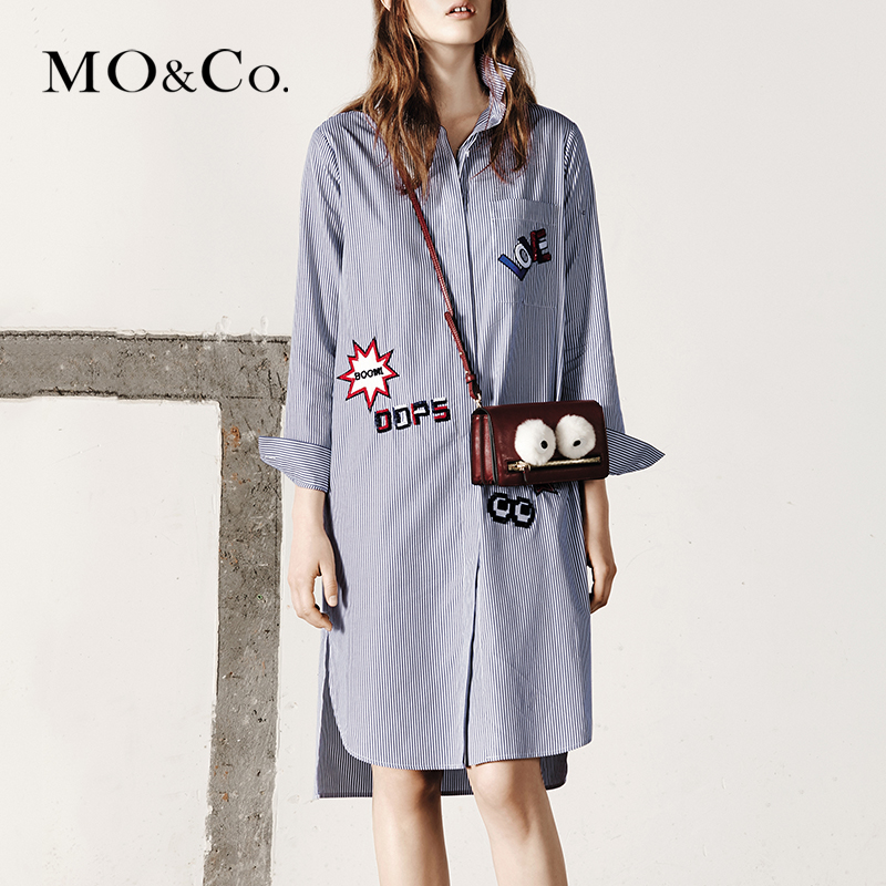 Moco fall clothing long section of loose striped for Mens dress shirt monogram location