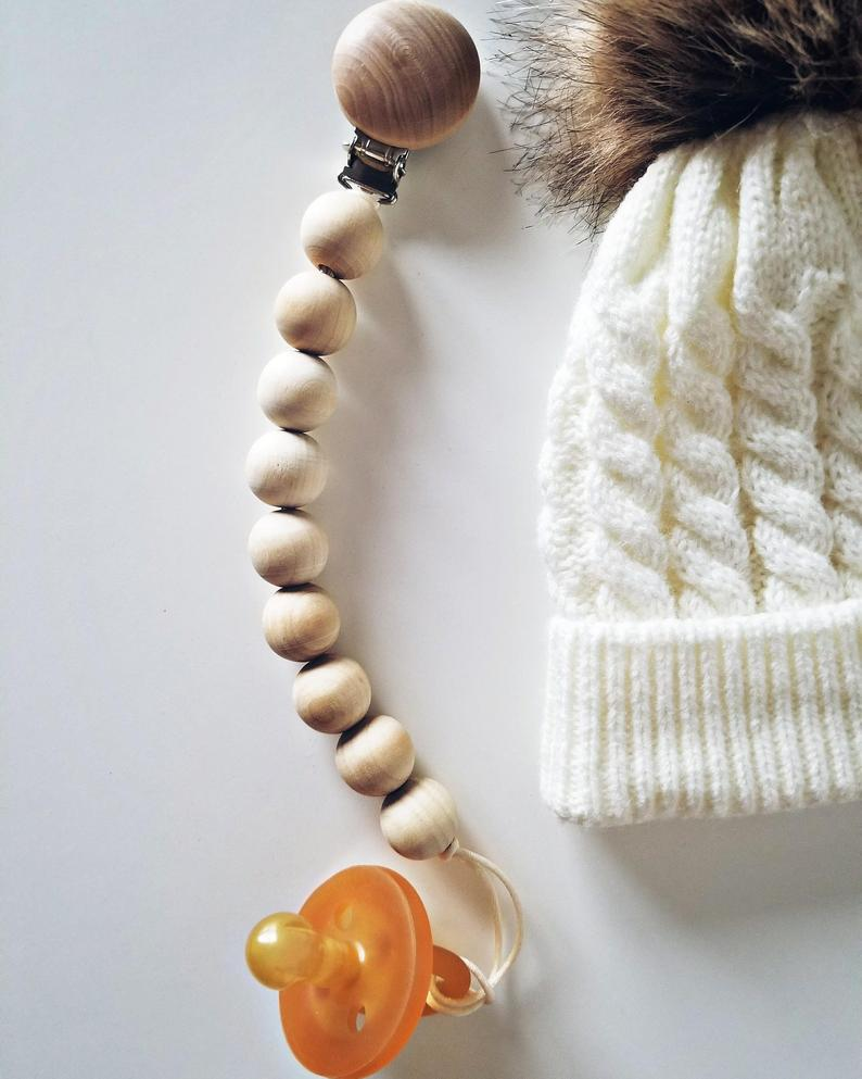 Nordic wood wind natural green wood jewelry bao nipple chain soothe nipple anti-chain toys to prevent the ground clip