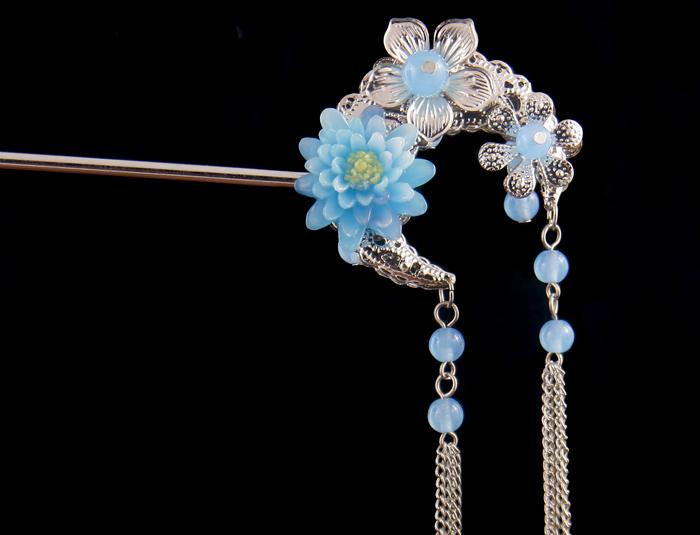 蓝色花发簪古典流苏步摇发簪 双面古装发簪子复古钗子古典头饰