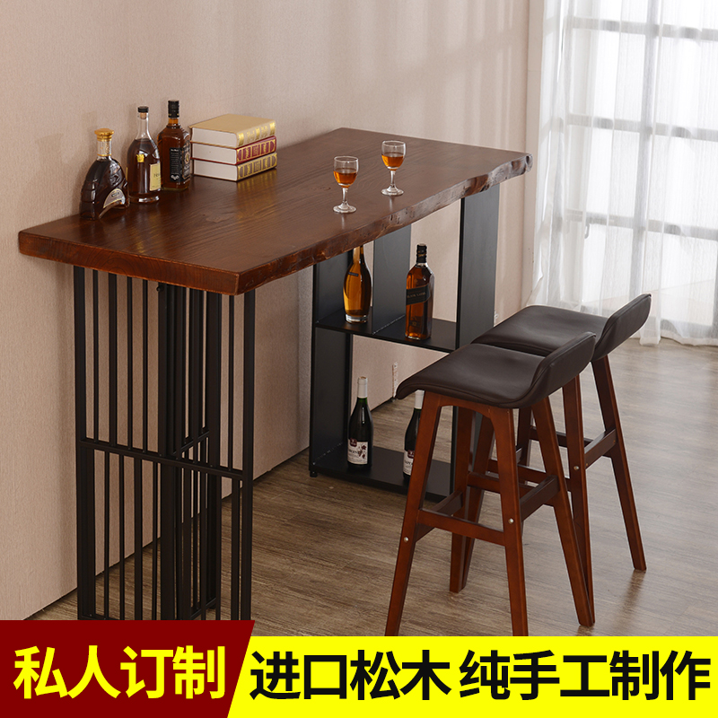 Solid wood bar tables bar home bar off the living room restaurant cafe  kitchen side table tall custom-made tables
