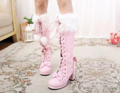 taobao agent Original daily snow country flower wedding plus velvet cute sweet high-tube fur ball warm full-length long boots lolita