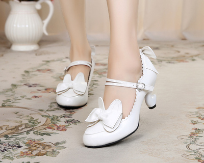 taobao agent Original lolita lolita Japanese sweet and cute rabbit ears bowknot table feet student high-heeled leather shoes