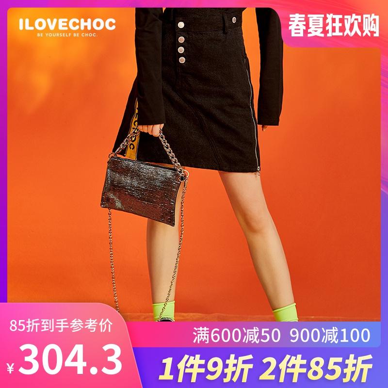 黑色同款ILOVECHOC春夏新款半身商场短裙裙女a型牛仔牛仔潮韩版