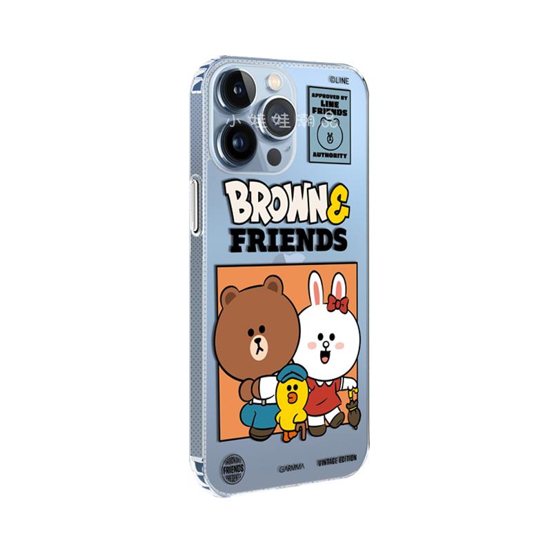 linefriends布朗熊苹果13手机壳promax新款mini女iphone12pro透明