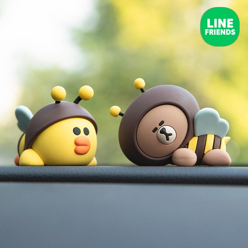 line friends布朗熊车载小摆件可爱公仔ins风汽车装饰车内用品女