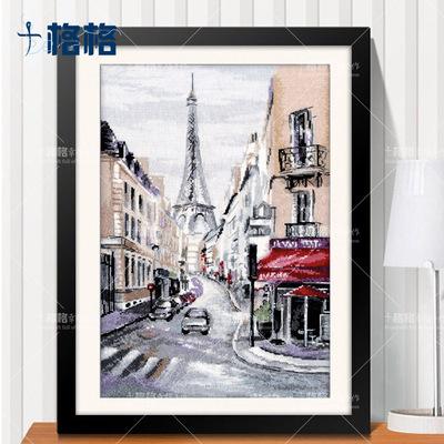 精准印花法国DMC 十字绣套件简约客厅 风景挂画餐厅 法国油画街角