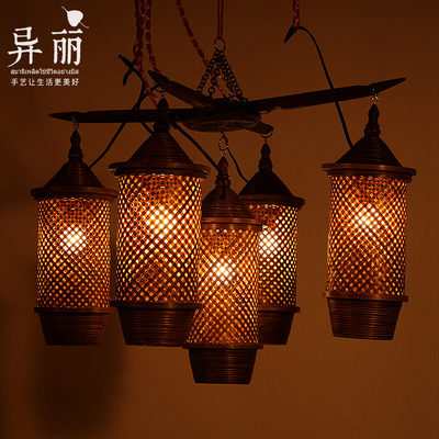 Southeast Asia Hotel Restaurant Creative Bamboo Five Bad Branch Chandelier Living Room Bar Simple Vernet Lighting Lighting