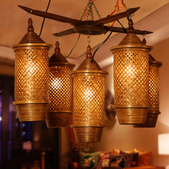 Creative bamboo woven five-head chandelier for hotels and restaurants in Southeast Asia