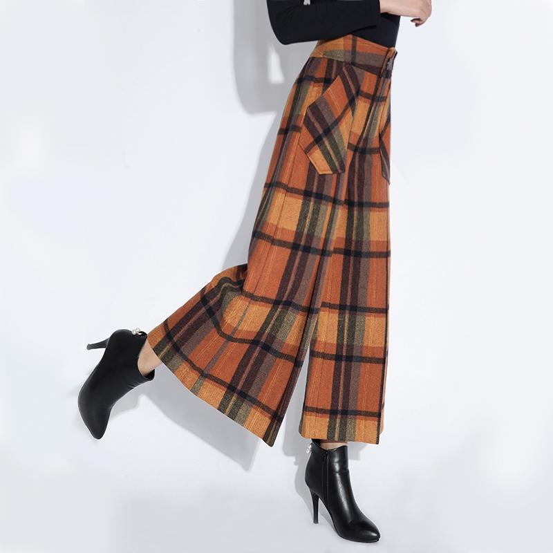 子女羊毛呢阔腿裤格子九分裤2019秋冬装新款宽松高腰休闲裤裙裤