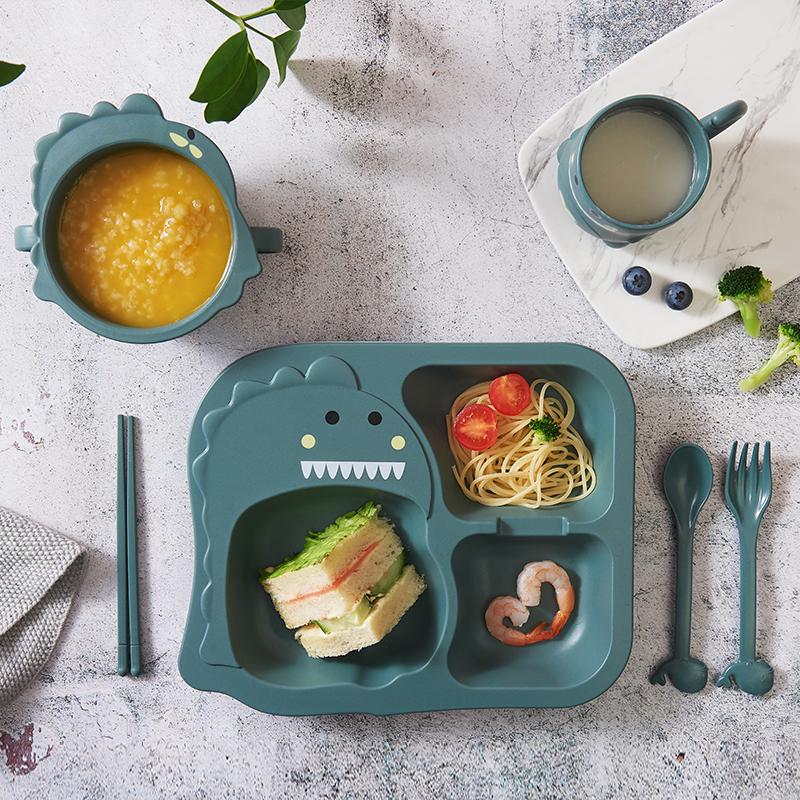 儿童餐具餐盘套装家用宝宝吃饭碗杯卡通可爱幼儿园分格防摔辅食盘