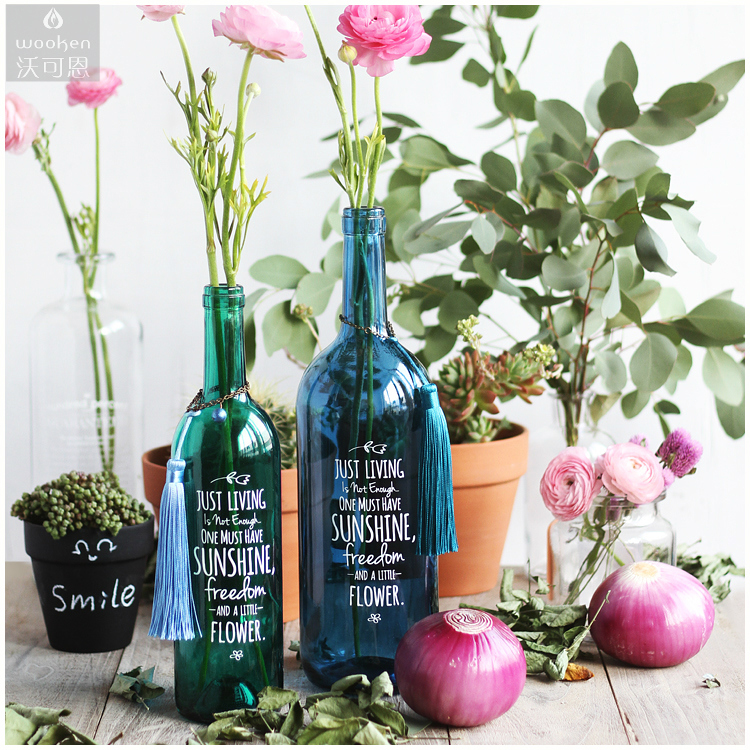 Usd 880 Wooken Original Chic Wine Bottle Glass Flower Single