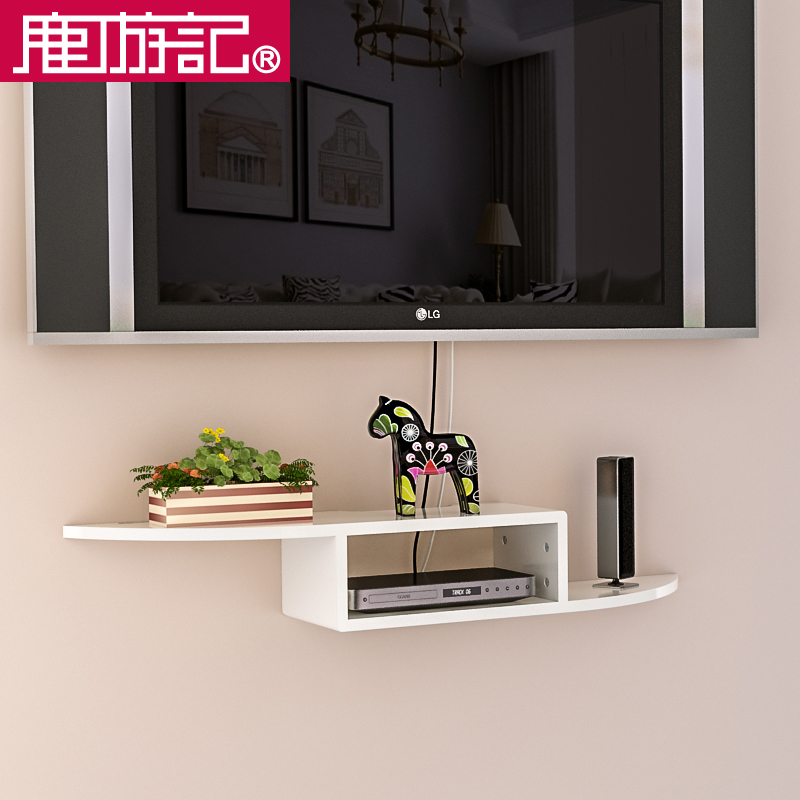 Tv Set Top Box Mounting Frame Wall Mounted Decorative Rack Wooden Living