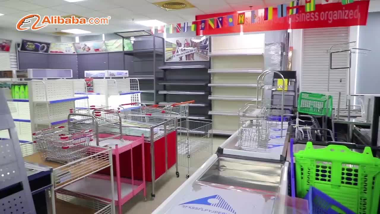 MDF PD and iron material customized size modern supermarket wooden fruit display shelf