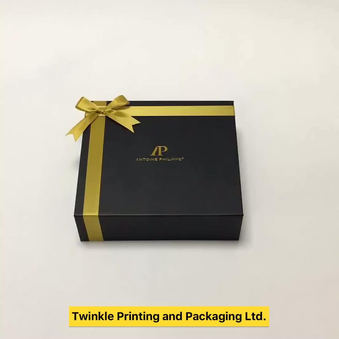 Custom Logo Vouwen Zwart Papier Platte Verpakking Luxe Magnetische Geschenkdoos Groothandel In Shenzhen