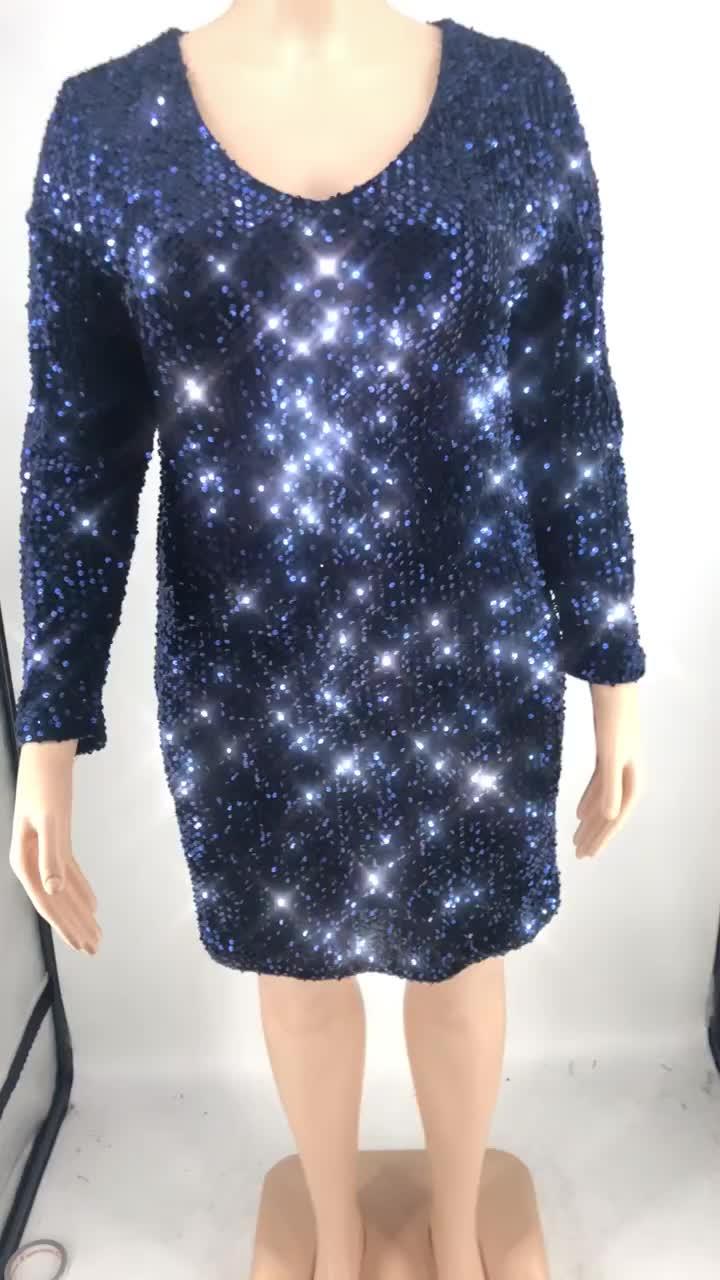 2020 Charming Frauen Pailletten Kleid V-ausschnitt Langarm Plus Größe Kurze Kleid Für Damen