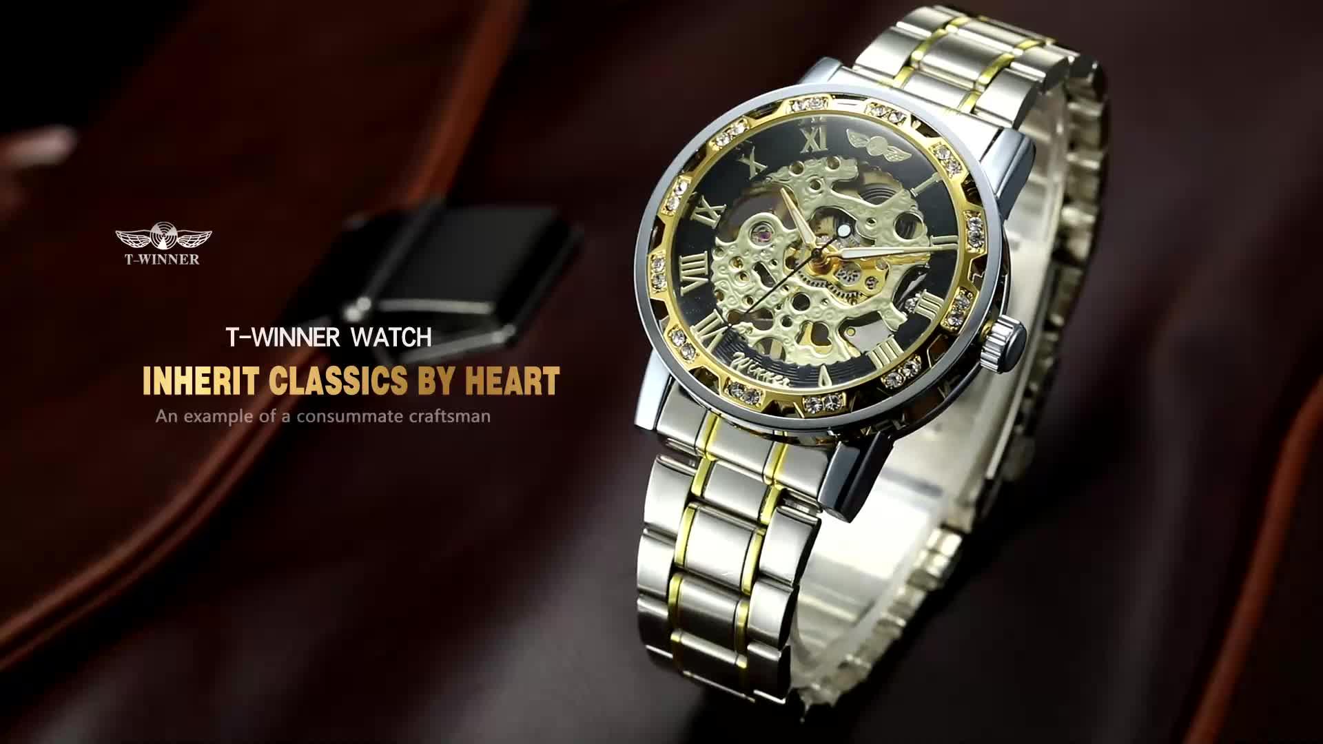 2020 T-זוכה חדש גברים שעונים מכאני מותאם אישית לוגו נירוסטה רצועת יד שעונים